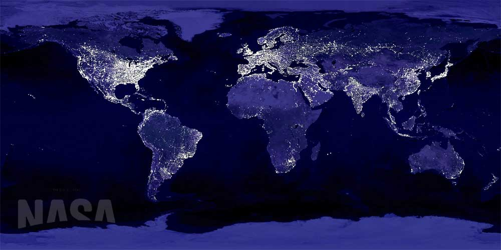 NASA Composite Satellite Image of World Lights at Night